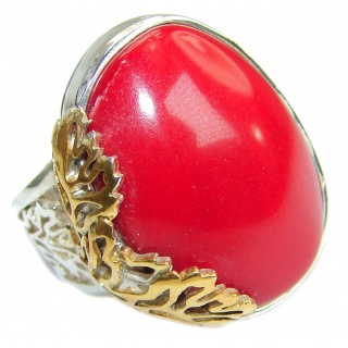 Natural Fossilized Coral two tones .925 Sterling Silver handmade ring s. 7 adjustable
