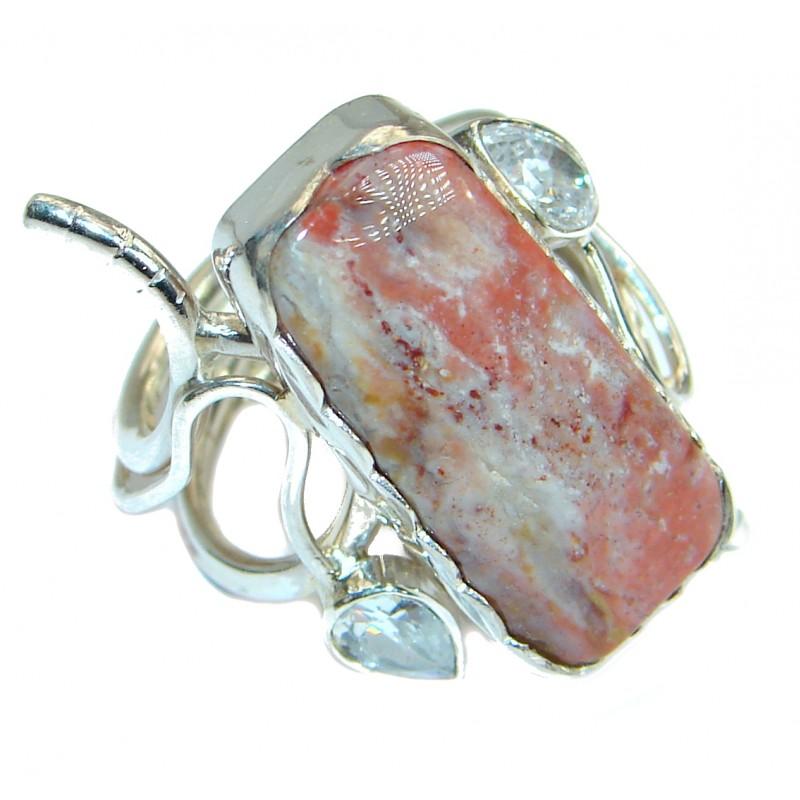 Supernova Moss Agate .925 Sterling Silver handcrafted ring; s. 7