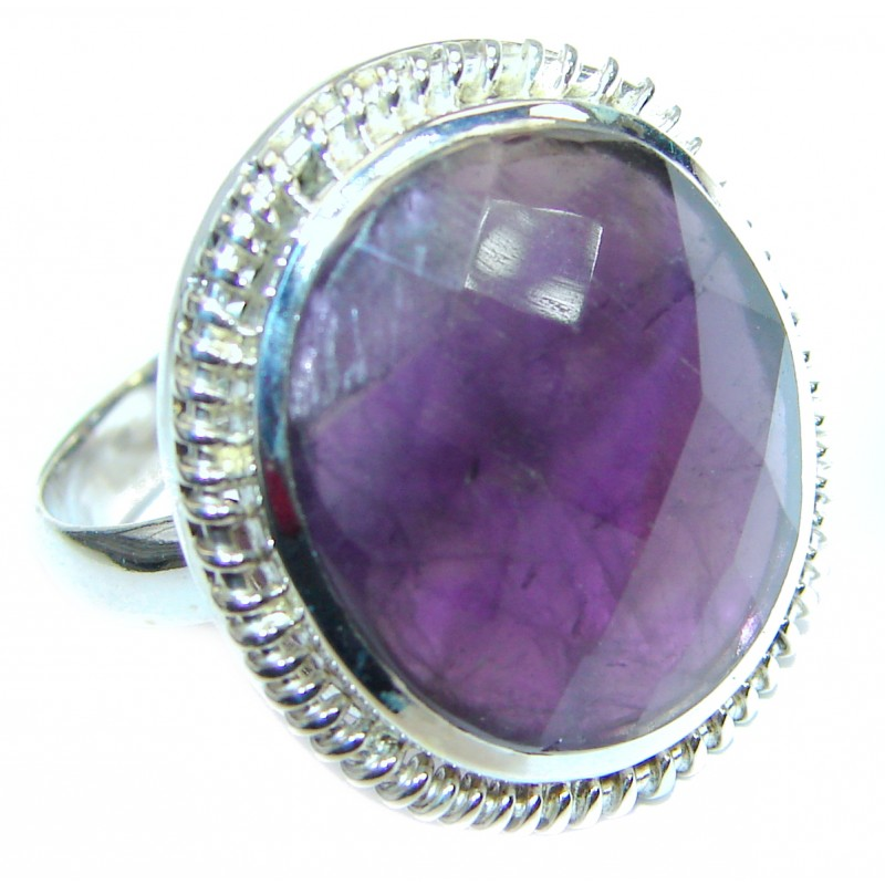 Amethyst .925 Sterling Silver handcrafted ring; s. 9