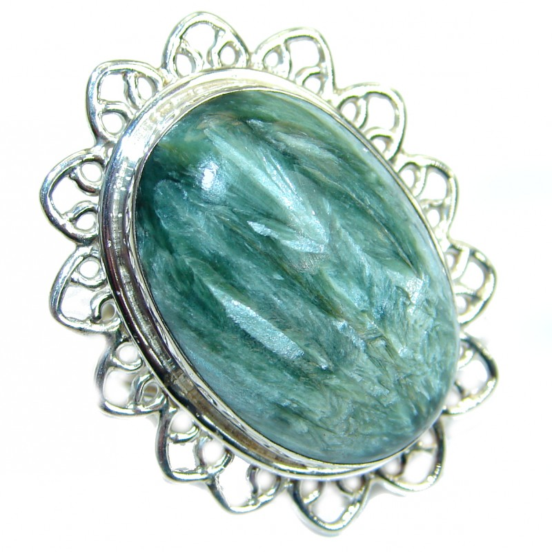 Great quality Green Russian Seraphinite Sterling Silver handmade Ring size 8 3/4