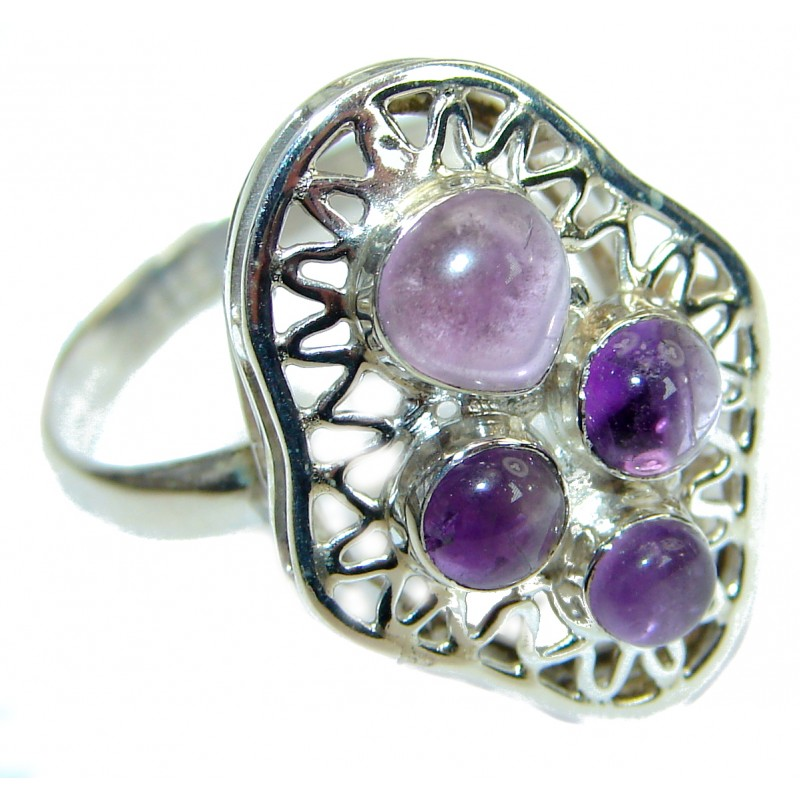 Amethyst .925 Sterling Silver handcrafted ring; s. 9 1/2