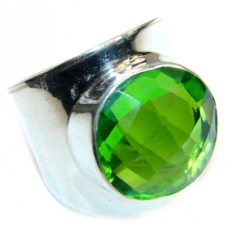 Huge Best Quality Quartz .925 Sterling Silver ring s. 7 3/4