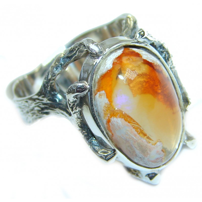 Mexican Opal oxidized .925 Sterling Silver handcrafted ring size 8 1/2