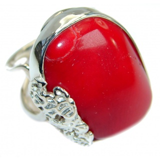 Natural Fossilized Coral .925 Sterling Silver handmade ring s. 7 adjustable
