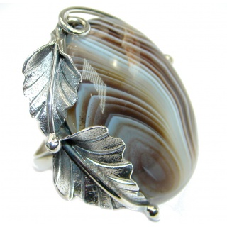 Excellent quality Botswana Agate Sterling Silver Ring s. 8 adjustable