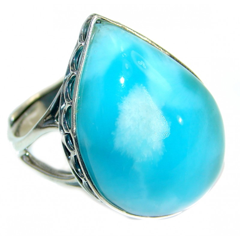 Bold Natural Larimar .925 Sterling Silver handcrafted Ring s. 7 3/4