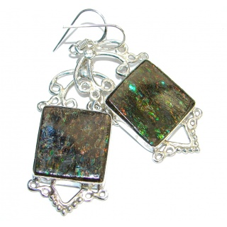 Beautiful Fire Ammolite hammered .925 Sterling Silver earrings
