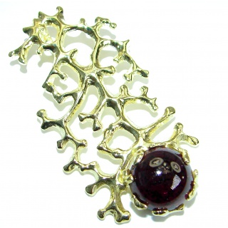 Italy Made Authentic Garnet 18K Gold over .925 Sterling Silver handmade pendant