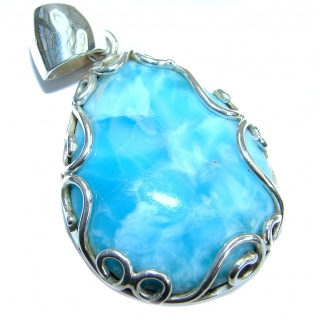 True Blue Treasure genuine Larimar .925 Sterling Silver handmade pendant