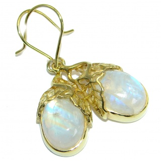 Stylish AAA+ Fire Moonstone 14K Gold over .925 Sterling Silver handmade earrings