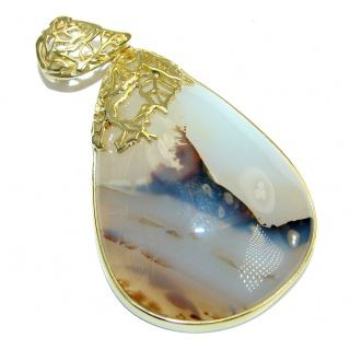 Great quality genuine Botswana Agate 14K Gold over .925 Sterling Silver handmade Pendant