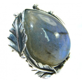Huge Fire Labradorite .925 Sterling Silver handmade ring size 7 adjustable