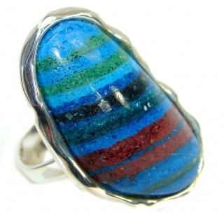 Blue Rainbow Calsilica .925 Sterling Silver handcrafted ring size 8 1/4