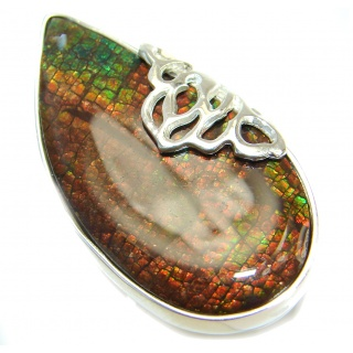 Large Genuine Canadian Ammolite .925 Sterling Silver handmade ring s. 7 adjustable