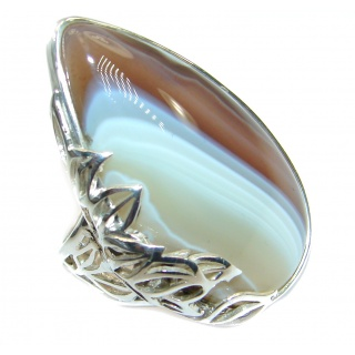 Genuine Botswana Agate two tones .925 Sterling Silver handmade Ring Size 7 adjustable