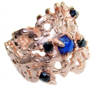 Unique Design genuine Lapis Lazuli Gold over .925 Sterling Silver handmade Cocktail Ring s. 6
