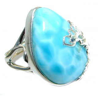 Bold Natural Larimar .925 Sterling Silver handcrafted Ring s. 6 1/4