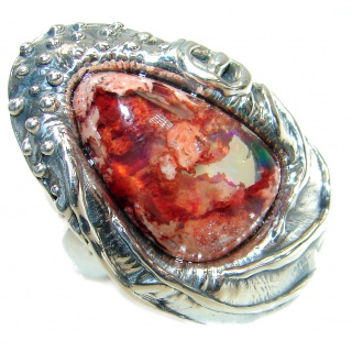Large Mexican Opal oxidized oxidized .925 Sterling Silver handcrafted ring size 7 adjustable