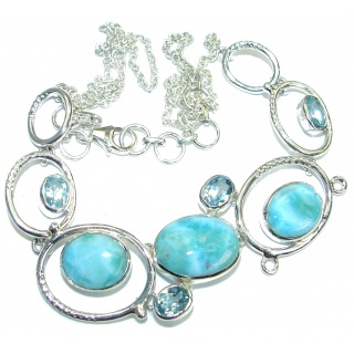 Open Ocean genuine Larimar Swiss Blue Topaz .925 Sterling Silver handmade necklace