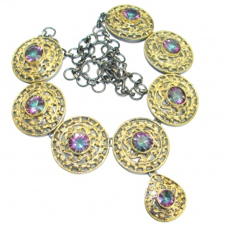 Byzantine Style Magic Topaz 14K Gold Rhodium over .925 Sterling Silver handmade necklace