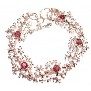 New Concept genuine Garnet Rose Gold over .925 Sterling Silver handmade Bracelet