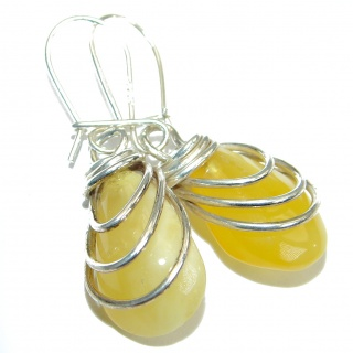 Genuine Baltic Amber .925 Sterling Silver handmade Earrings