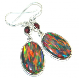 Japanese Fire Opal .925 Sterling Silver handmade earrings