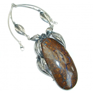 OVERSIZED! Spectacular Rustic Style Australian Boulder Opal .925 Sterling Silver brilliantly handcrafted necklace