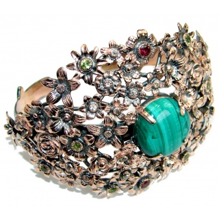Enchanted Garden Malachite Gold over .925 Sterling Silver handcrafted Bracelet / Cuff