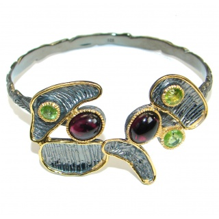 Dali World genuine Garnet 18K Gold over .925 Sterling Silver handcrafted Bracelet / Cuff