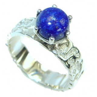Ocean Inspired Lapis Lazuli .925 Sterling Silver handmade Cocktail Ring s. 8 1/4