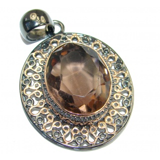 Vintage Style Beauty Smoky Topaz Rose Gold over .925 Sterling Silver handmade Pendant