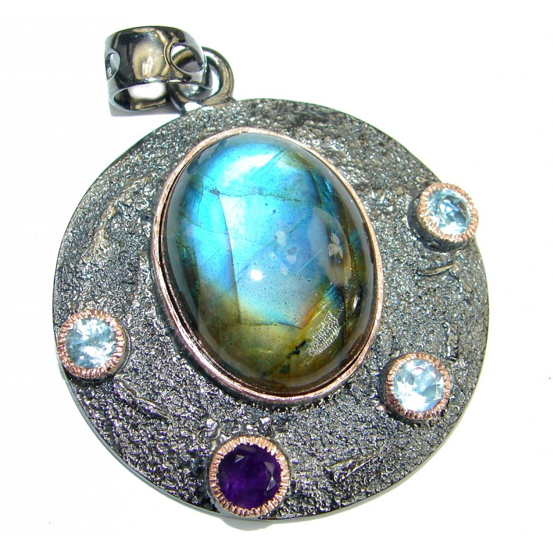 Universe genuine Fire Labradorite 14K Gold Rhodium over .925 Sterling Silver handmade Pendant