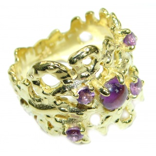 Purple Reef Amethyst 14K Gold over .925 Sterling Silver Ring size 7 1/4