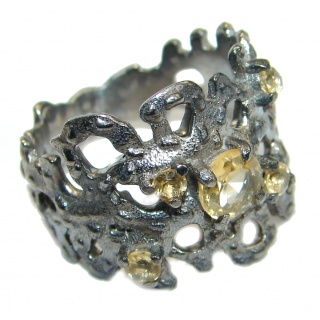 Dramatic Design genuine Citrine .925 Sterling Silver handmade Cocktail Ring s. 8