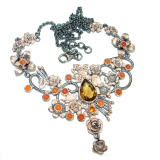 Bohemian Style Champagne Smoky Topaz .925 Sterling Silver handmade necklace