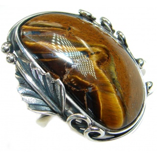 Bold Golden Tigers Eye .925 Sterling Silver handmade ring s. 7 adjustable