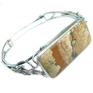 Nature Inspired Design genuine Picture Jasper .925 Sterling Silver Bracelet / Cuff