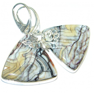 Large Crazy Lace Agate .925 Sterling Silver handcrafted earrings