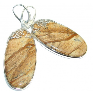 Huge Bohemian Style Picture Jasper .925 Sterling Silver earrings