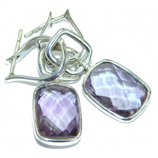 Genuine Pink Amethyst Oxidized .925 Sterling Silver handmade Earrings