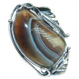Genuine Botswana Agate .925 Sterling Silver handmade Ring Size 7 adjustable