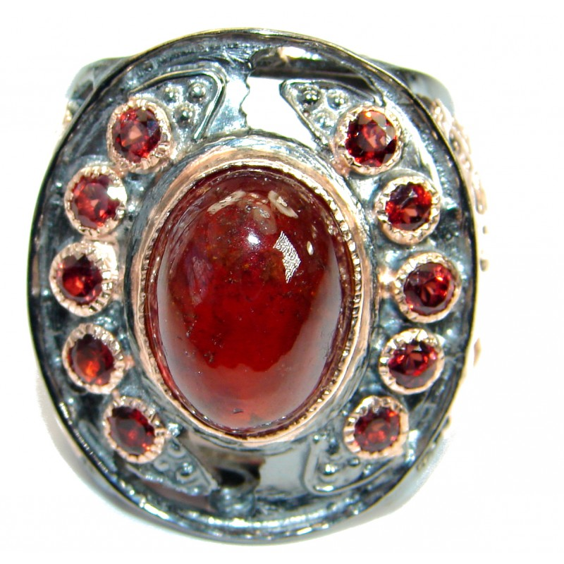 Vintage Design Genuine 25ct Ruby 14K Gold over .925 Sterling Silver handmade Ring size 7 1/4