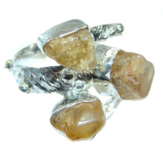 Natural Rough Citrine Sterling Silver Ring s. 6