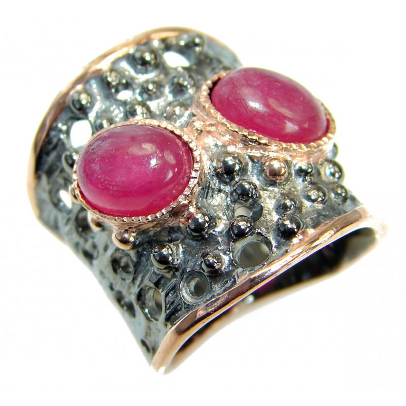 Best Friends Ruby 14K Gold Rhodium over .925 Sterling Silver handmade Cocktail Ring s. 6 1/2