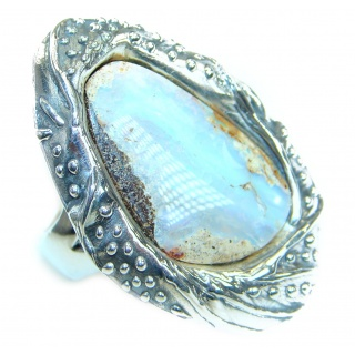Bohom Style Genuine Boulder Opal .925 Sterling Silver handmade Ring Size 7 adjustable