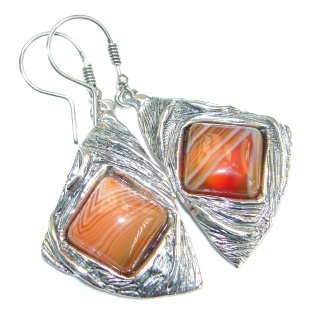 Exclusive Crazy Lace Agate .925 Sterling Silver handcrafted earrings