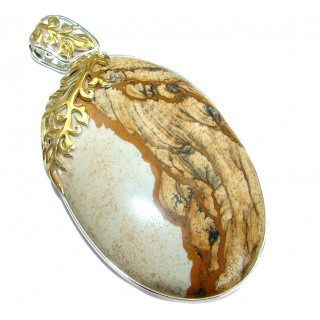 Classy Picture Jasper Two Tones .925 Sterling Silver handmade Pendant