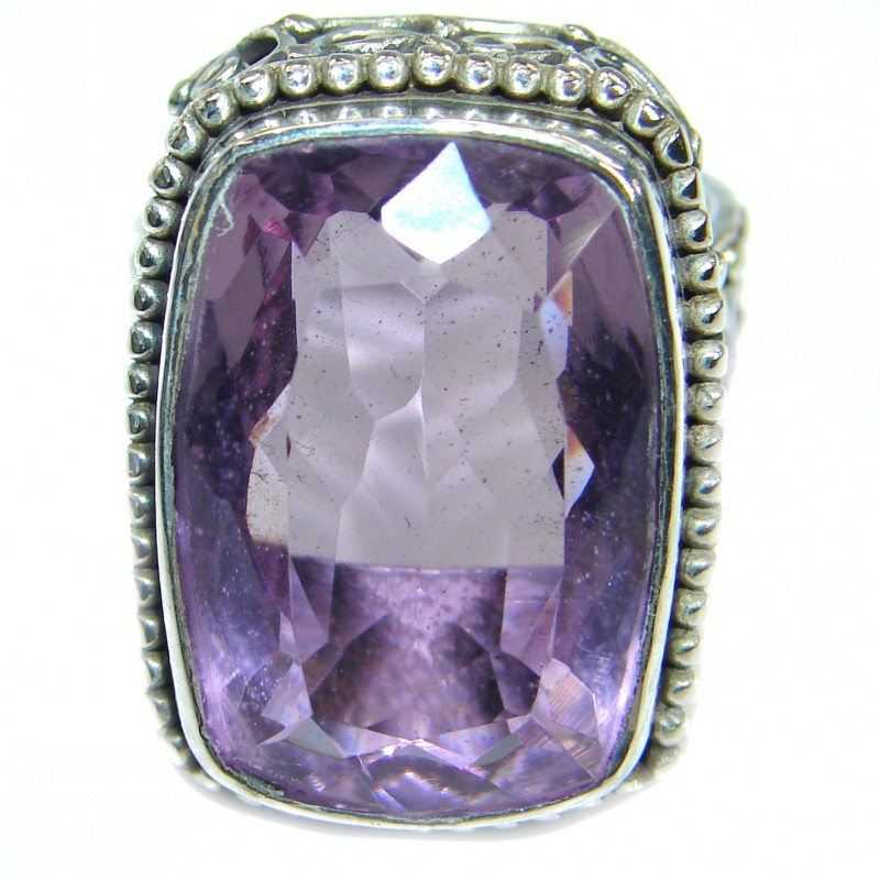 Bold Authentic Pink Amethyst .925 Sterling Silver handmade Statement Ring s. 8