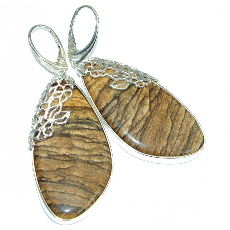 Huge Bohemian Style Picture Jasper .925 Sterling Silver handcrafted earrings